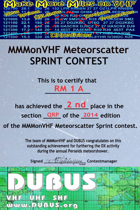 eAWARD for the MakeMoreMilesonVHF and DUBUS MS SPRINT Meteorscatter contest