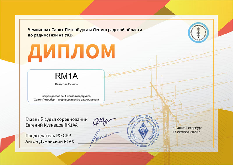 RM1A УКВ-Чемпионат города и области 2020